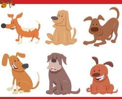 Conjunto de personajes cómicos de perros y cachorros de dibujos animados vector