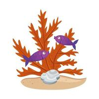 sea underwater life, fishes with seaweed on white background vector