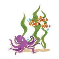 sea underwater life, fishes and octopus with seaweed on white background vector