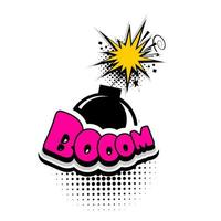 bomba de publicidad de burbuja de texto de cómic, boom vector