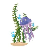 sea underwater life, jellyfish with seaweed on white background vector