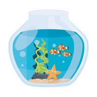 Pez payaso de acuario y estrella de mar con agua, algas, mascota marina de acuario vector