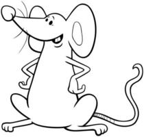 funny cartoon mouse coloring book page vector