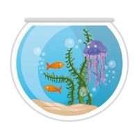peces de acuario y medusas con agua, algas, mascotas marinas de acuario vector