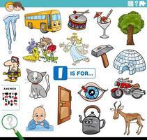 Letra i palabras tarea educativa para niños. vector