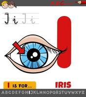 letter I worksheet with iris cartoon illustration