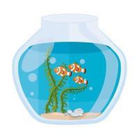 Peces payaso de acuario con agua, algas, mascota marina de acuario vector