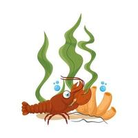 sea underwater life, lobster with seaweed and coral on white background vector