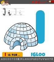 letter I worksheet with cartoon igloo