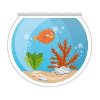pez globo de acuario con agua, algas, mascota marina de acuario vector