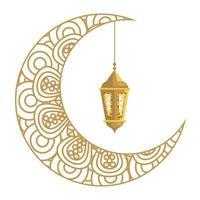 Ramadán kareem linterna colgando con luna creciente dorada sobre fondo blanco. vector