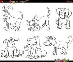 personajes de perro de dibujos animados establecer página de libro de color vector
