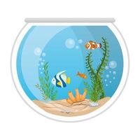 peces de acuario con agua, algas, corales, mascotas marinas de acuario vector