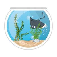 mantarraya de acuario con agua, algas, mascota marina de acuario vector