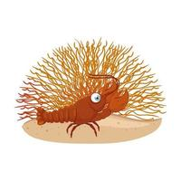 sea underwater life, lobster with coral on white background vector