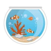 Peces payaso de acuario y pez globo con agua, algas, mascota marina de acuario vector
