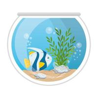 Peces de acuario con agua, algas, mascota marina de acuario vector