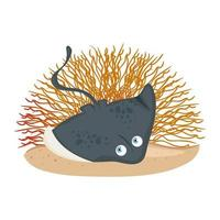 sea underwater life, stingray animal with coral on white background vector