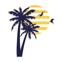Silueta de palmeras tropicales con pájaros volando sobre fondo blanco. vector