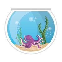 pulpo de acuario con agua, algas, mascota marina de acuario vector