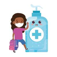 girl student afro wearing medical mask to prevent coronavirus covid 19 with cute bottle disinfection and sanitizer bottle