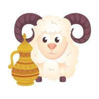 goat animal with teapot on white background vector