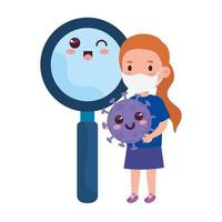 cute girl wearing medical mask to prevent coronavirus covid 19 with cute magnifying glass vector