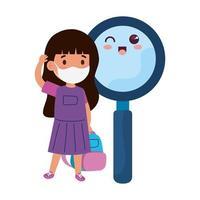girl student wearing medical mask to prevent coronavirus covid 19 cute magnifying glass kawaii vector