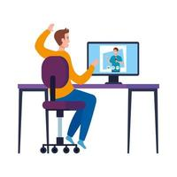 Man at chair and boy on computer in video chat vector design
