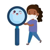 cute girl afro wearing medical mask to prevent coronavirus covid 19 with cute magnifying glass vector