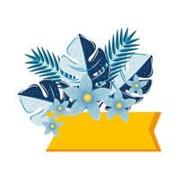 label with flowers and tropical leaves on white background vector