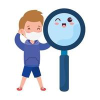 cute boy wearing medical mask to prevent coronavirus covid 19 with cute magnifying glass vector
