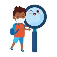 cute boy afro wearing medical mask to prevent coronavirus covid 19 with cute magnifying glass vector