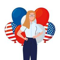 businesswoman with usa balloons vector design