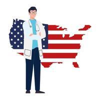 Doctor hombre con estetoscopio y diseño de vector de mapa de bandera de Estados Unidos