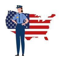 Hombre de policía con diseño de vector de mapa de bandera de Estados Unidos