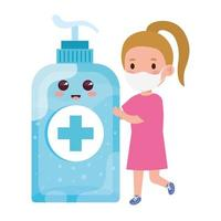 cute girl wearing medical mask to prevent coronavirus covid 19 with cute bottle disinfection and sanitizer bottle