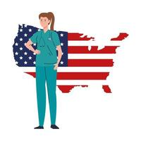 doctor woman with stethoscope and usa flag map vector design