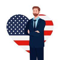 businessman with usa flag heart vector design