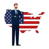 empresario con diseño de vector de mapa de bandera de Estados Unidos