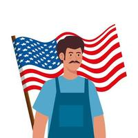painter man with usa flag vector design