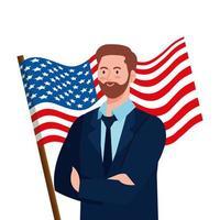 businessman with usa flag vector design