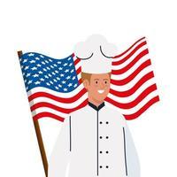 chef man with usa flag vector design