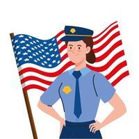 police man with usa flag vector design