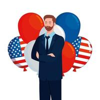 businessman with usa balloons vector design