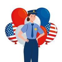 police man with usa balloons vector design