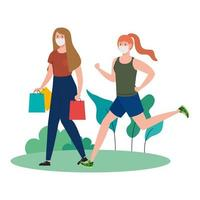 women wearing medical mask, carrying shopping bags and running on outdoor vector