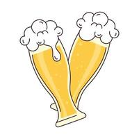 two glass of beer with froth, cheers, on white background vector