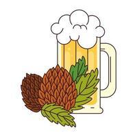 Jarra de cerveza con semillas de lúpulo sobre fondo blanco.