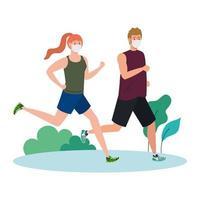 pareja maratonista corriendo con máscara médica, al aire libre, prevención coronavirus covid 19 vector